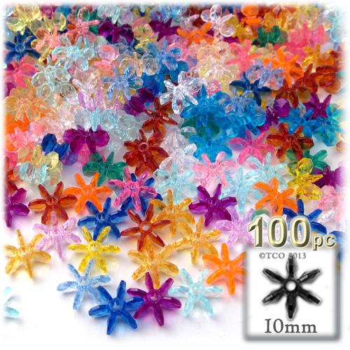 Plastic Beads, Starflake Transparent, 10mm, 100-pc, Multi Mix