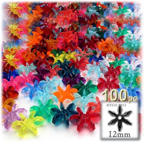 Plastic Beads, Starflake Transparent, 12mm, 100-pc, Multi Mix