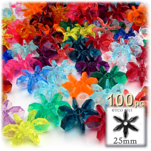 Plastic Beads, Starflake Transparent, 25mm, 100-pc, Multi Mix