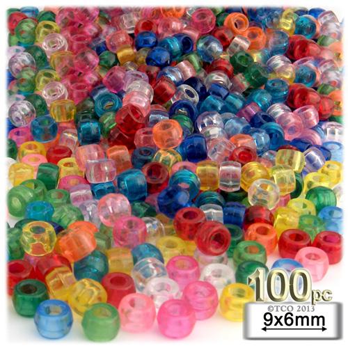 Plastic Beads, Pony Transparent, 6x9mm, 100-pc, Multi Mix