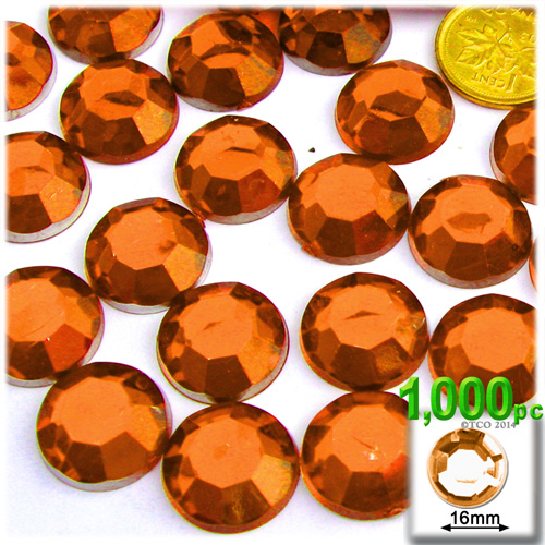 Orange Rhinestones Jewels 16mm - 1,000pc