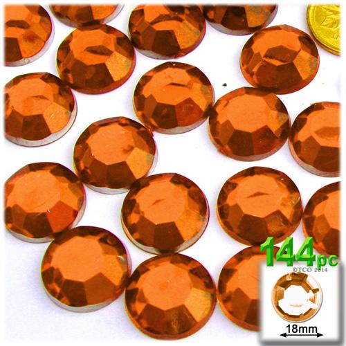 Orange Rhinestones Jewels 18mm - 144pc