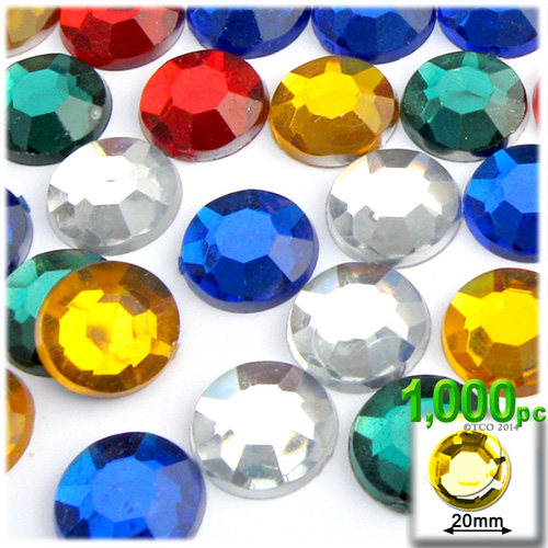 Mix of All Available colors Rhinestones Jewels 20mm - 1,000pc
