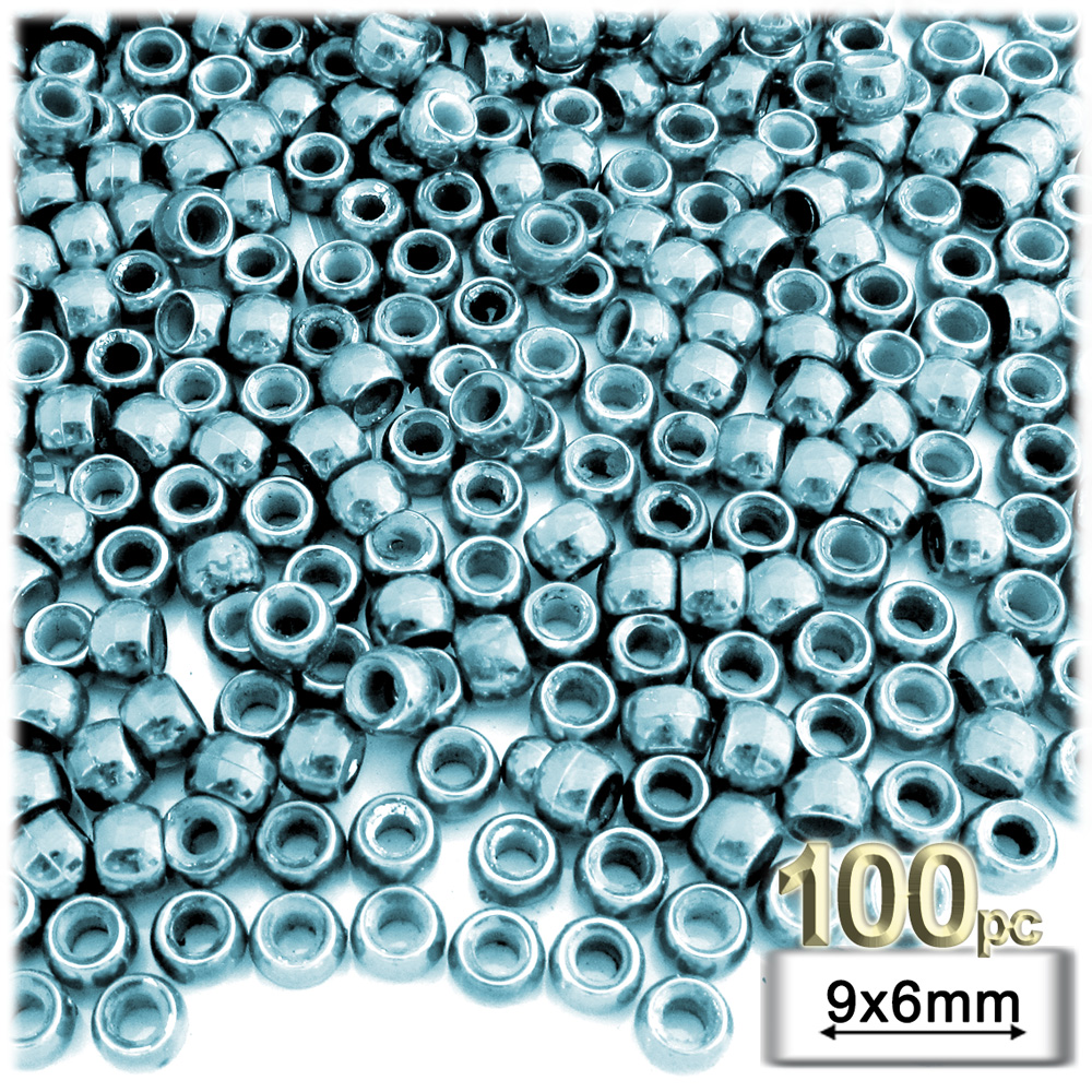 Plastic Beads, Pony Opaque, 6x9mm, 100-pc, Light Blue beads