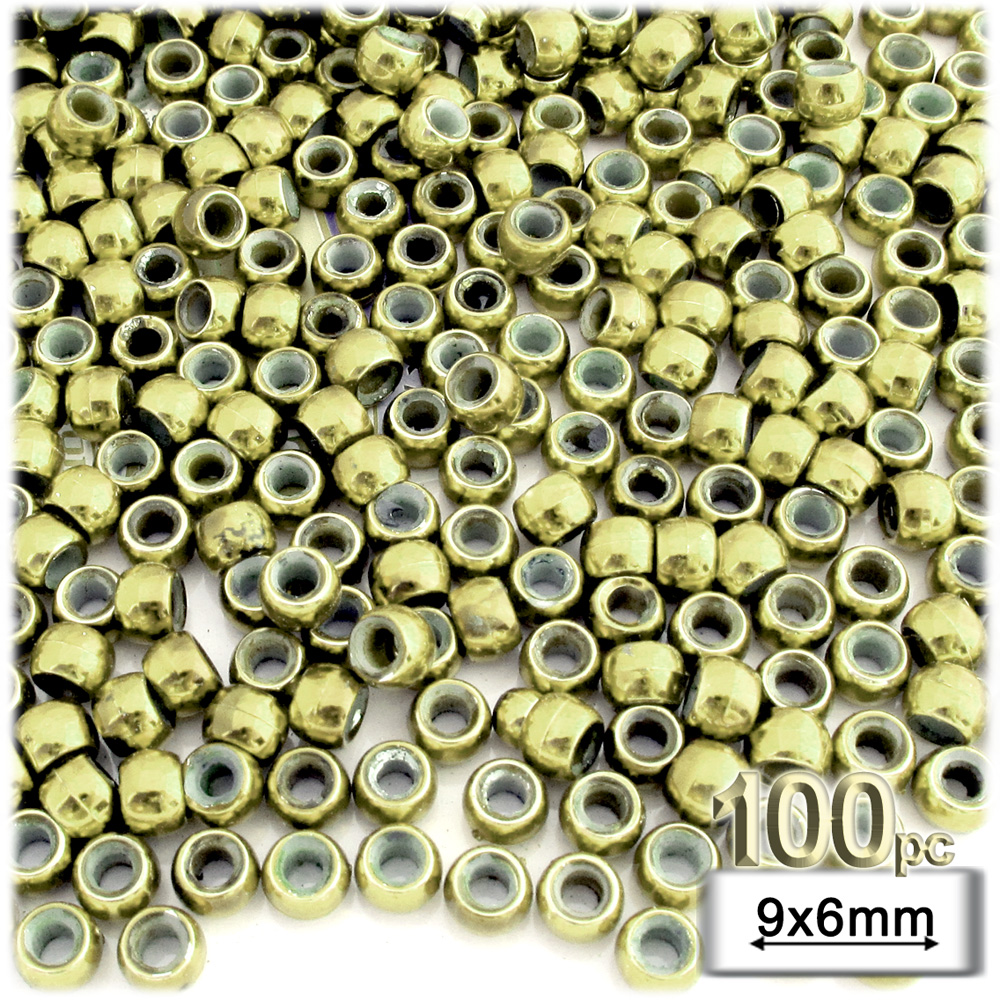 Plastic Beads, Pony Opaque, 6x9mm, 100-pc, Light Gold beads