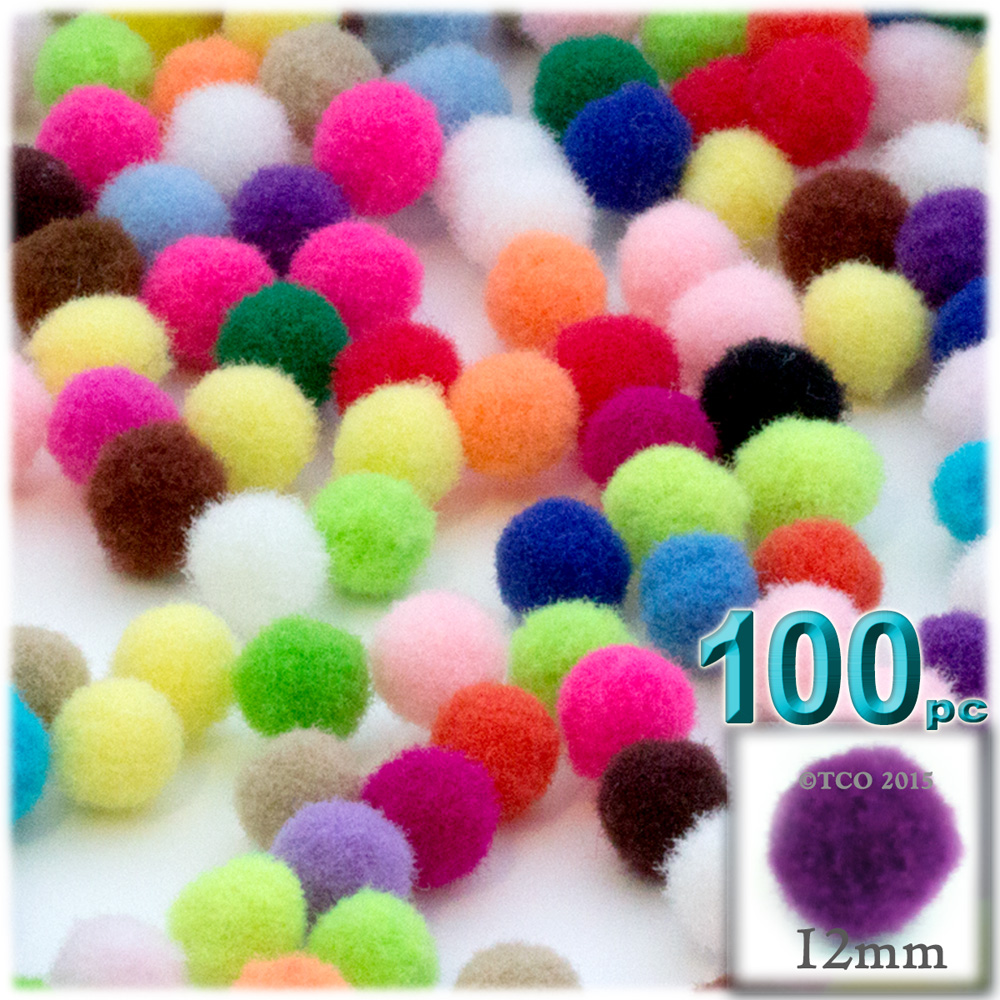 Acrylic Pom Poms, solid Color, 0.5-inch (12mm), 100-pc, Multi Mix