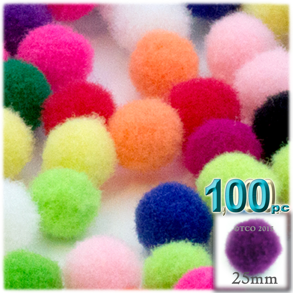 Acrylic Pom Poms, solid Color, 1.0-inch (25mm), 100-pc, Multi Mix