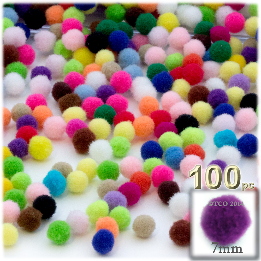 Acrylic Pom Poms, solid Color, 1.0-inch (7mm), 100-pc, Multi Mix