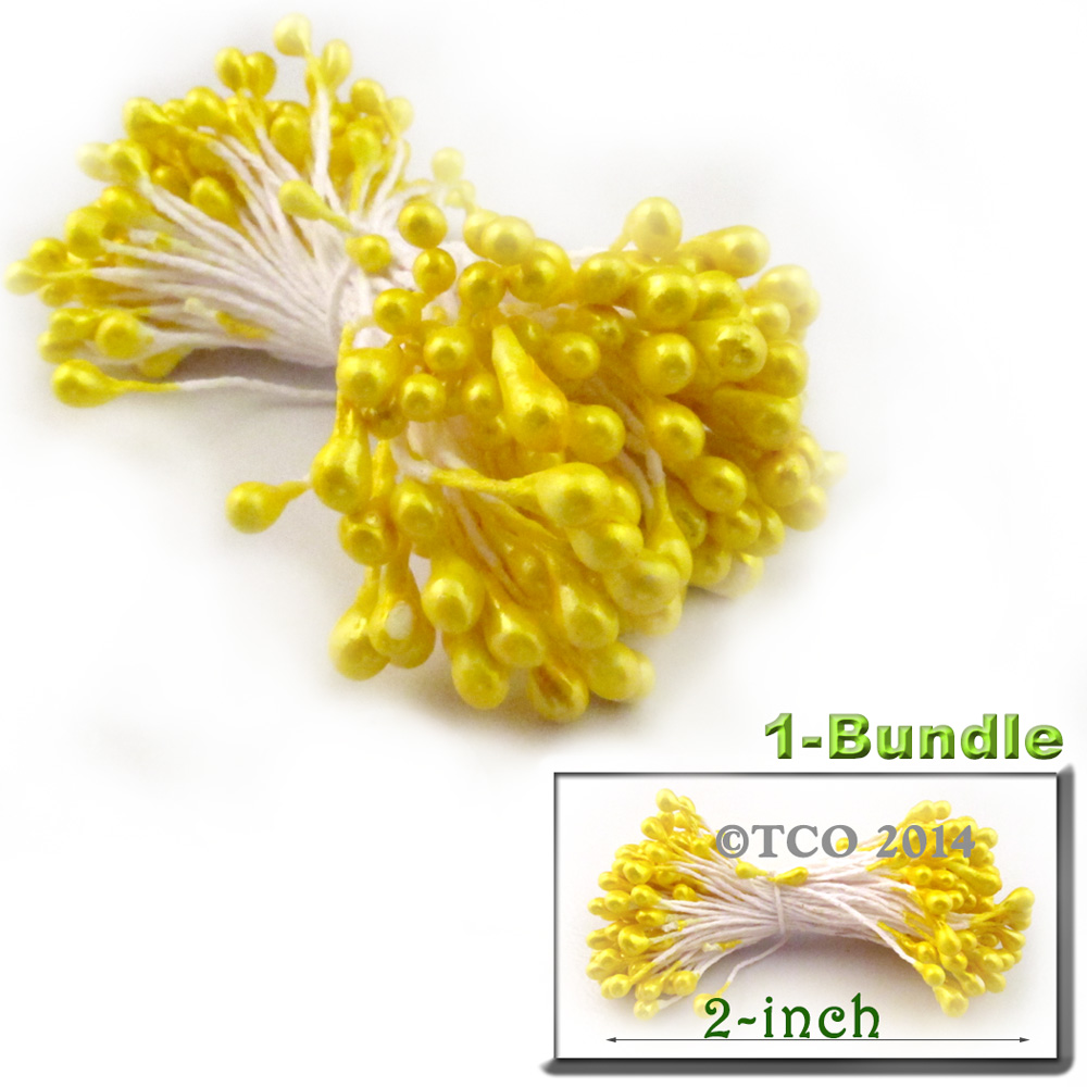 Bundle-of-144-Double-End-Pearl-Stamens-3mm-2in-YLW