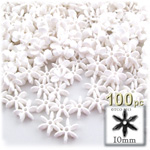 Plastic Faceted Beads, Starflake Opaque, 10mm, 100-pc, White