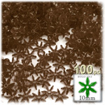 Plastic Faceted Beads, Starflake Transparent, 10mm, 100-pc, Brown