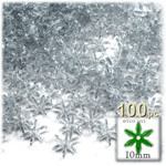Plastic Faceted Beads, Starflake Transparent, 10mm, 100-pc, Clear