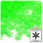 Plastic Beads, Starflake Transparent, 10mm, 100-pc, Light Green