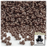 Plastic Beads, Tribead Opaque, 10mm, 200-pc, Brown