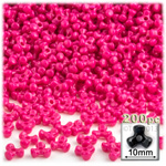 Plastic Beads, Tribead Opaque, 10mm, 200-pc, Hot Pink