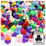 Plastic Beads, Tribead Opaque, 10mm, 200-pc, Multi Mix