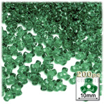 Plastic Beads, Tribead Transparent, 10mm, 200-pc, Emerald green