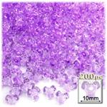 Plastic Beads, Tribead Transparent, 10mm, 200-pc, Lavender Purple