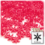 Plastic Faceted Beads, Starflake Opaque, 12mm, 100-pc, Red