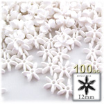 Plastic Faceted Beads, Starflake Opaque, 12mm, 100-pc, White