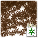 Plastic Faceted Beads, Starflake Transparent, 12mm, 100-pc, Brown
