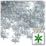 Plastic Faceted Beads, Starflake Transparent, 12mm, 100-pc, Clear