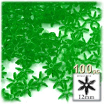 Plastic Beads, Starflake Transparent, 12mm, 100-pc, Emerald green