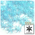 Plastic Beads, Starflake Transparent, 12mm, 100-pc, Light Blue