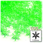 Plastic Beads, Starflake Transparent, 12mm, 100-pc, Light Green