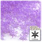 Plastic Beads, Starflake Transparent, 12mm, 100-pc, Lavender Purple