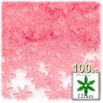 Plastic Faceted Beads, Starflake Transparent, 12mm, 100-pc, Pink