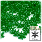 Plastic Beads, Starflake Opaque, 18mm, 100-pc, Emerald Green