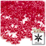 Plastic Faceted Beads, Starflake Opaque, 18mm, 100-pc, Red