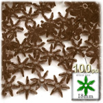 Plastic Faceted Beads, Starflake Transparent, 18mm, 100-pc, Brown
