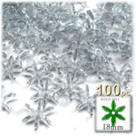 Plastic Faceted Beads, Starflake Transparent, 18mm, 100-pc, Clear