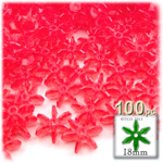 Plastic Beads, Starflake Transparent, 18mm, 100-pc, Christmas Red