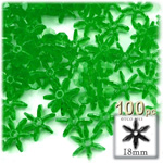 Plastic Beads, Starflake Transparent, 18mm, 100-pc, Emerald green
