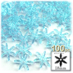 Plastic Beads, Starflake Transparent, 18mm, 100-pc, Light Blue