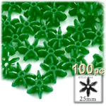 Plastic Beads, Starflake Opaque, 25mm, 100-pc, Emerald Green