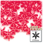 Plastic Faceted Beads, Starflake Opaque, 25mm, 100-pc, Red