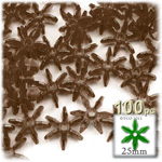 Plastic Faceted Beads, Starflake Transparent, 25mm, 100-pc, Brown