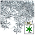 Plastic Faceted Beads, Starflake Transparent, 25mm, 100-pc, Clear
