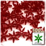 Plastic Beads, Starflake Transparent, 25mm, 100-pc, Raspberry Red