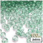 Plastic Beads, Pony Transparent with glitter, 6x9mm, 100-pc, Green