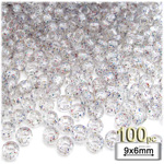 Plastic Beads, Pony Transparent with glitter, 6x9mm, 100-pc, Multi
