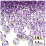 Plastic Beads, Pony Transparent glitter, 6x9mm, 100-pc, Purple