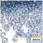 Plastic Beads, Pony Transparent with glitter, 6x9mm, 100-pc, Blue