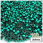 Plastic Beads, Pony Metallic, 6x9mm, 100-pc, Christmas Green