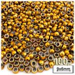 Plastic Beads, Pony Metallic, 6x9mm, 100-pc, Gold
