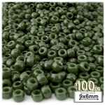 Plastic Beads, Pony Opaque, 6x9mm, 100-pc, Army Green